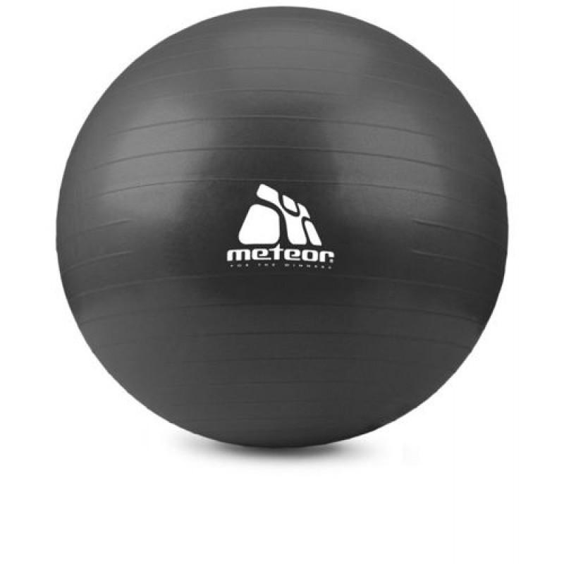 Meteor Gimnastikos kamuolys su pompa, 75cm - Juodos spalvos
